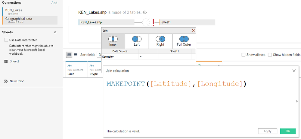 Tableau MAKEPOINT() calculation