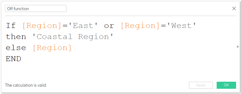 OR function calculation in Tableau