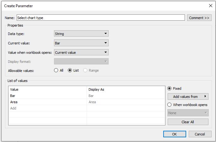 Creating parameter in Tableau