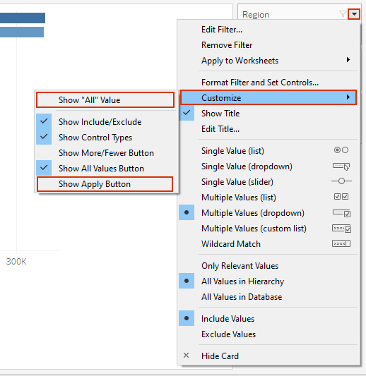 showing all values and apply button in tableau filters