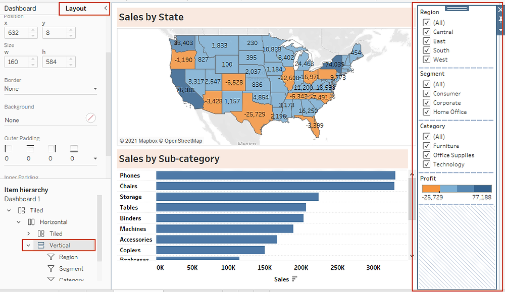 selecting container bearing the filters in tableau