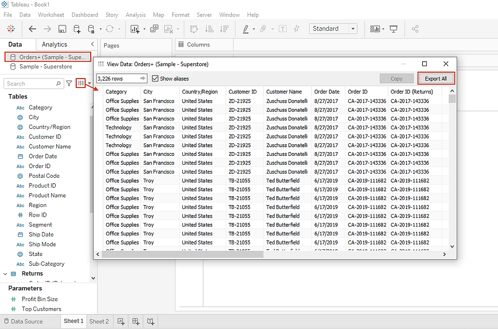 exporting data on the Tableau data pane