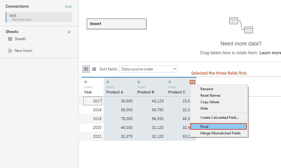 pivoting data in Tableau desktop guide
