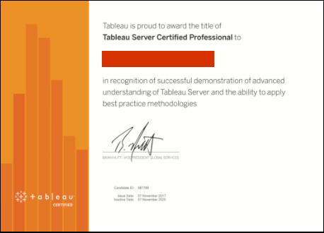 Example of Tableau server certified professional certificate
