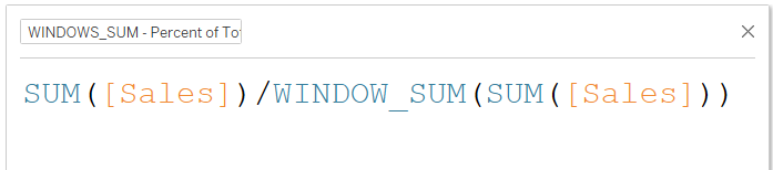 Using WINDOWS_SUM to compute percent of total in Tableau