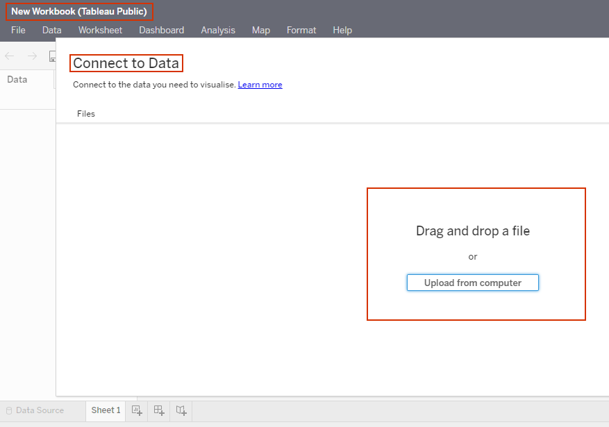 connecting data in tableau public web authoring