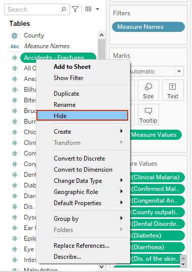 hiding fields in tableau data pane