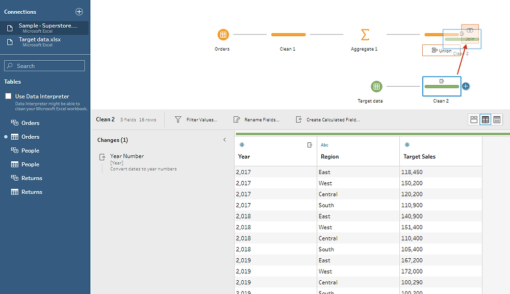 joining two tables in Tableau prep