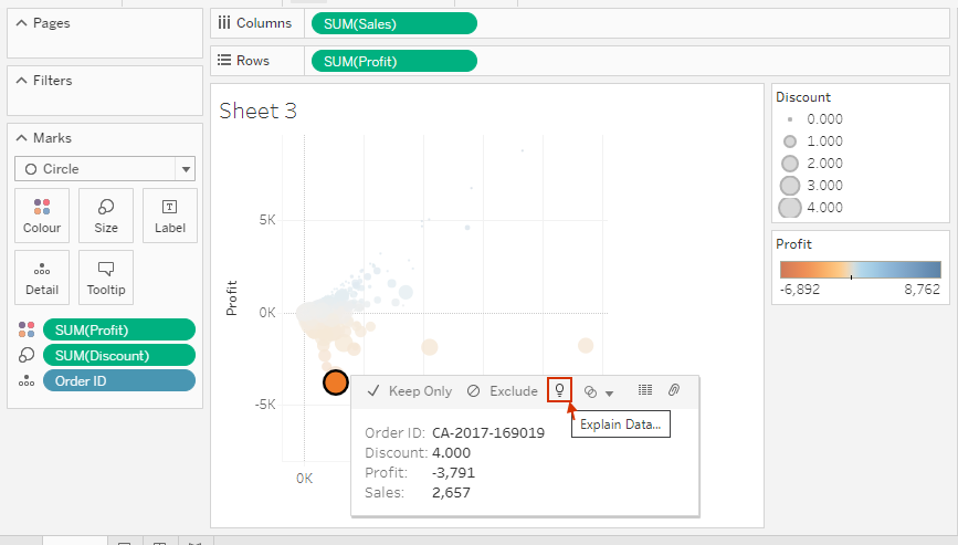 Tableau explain data feature