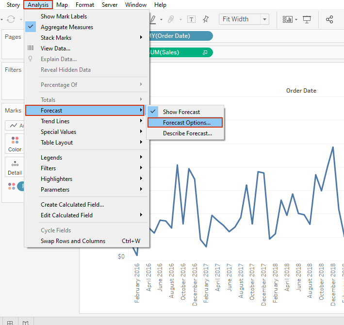 forecast options in tableau