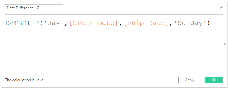 Date difference syntax