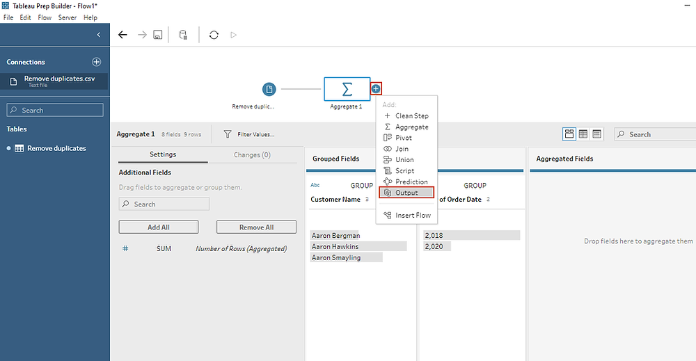 adding an output step in Tableau prep