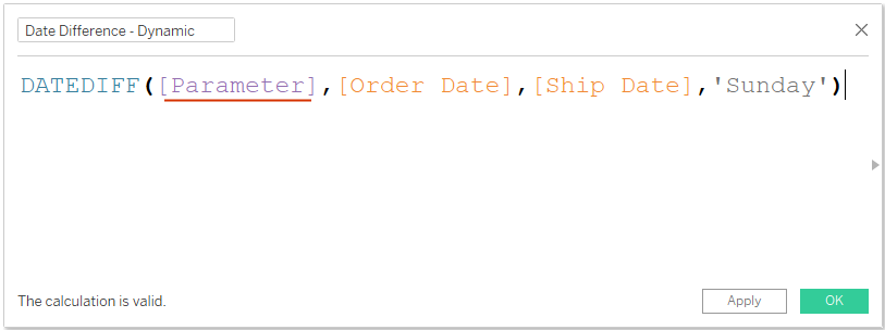 Tableau date difference with parameters