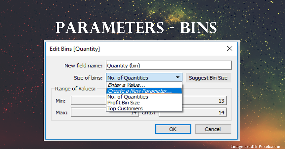 Tableau parameters with bins