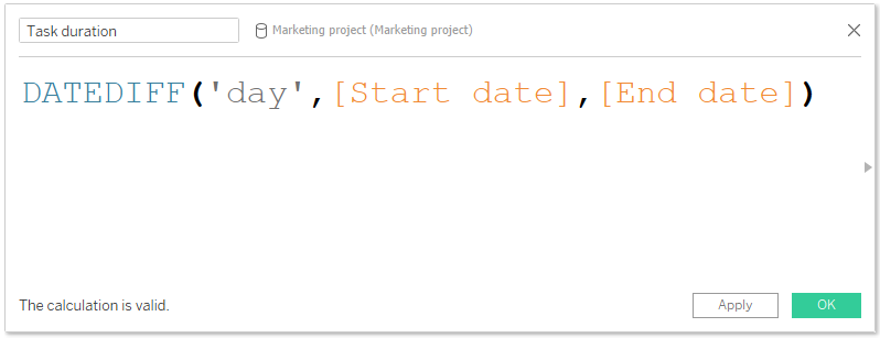 Tableau date function DATEDIFF()