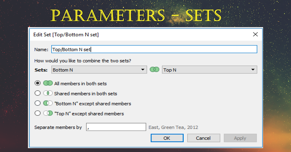 Tableau parameters with sets
