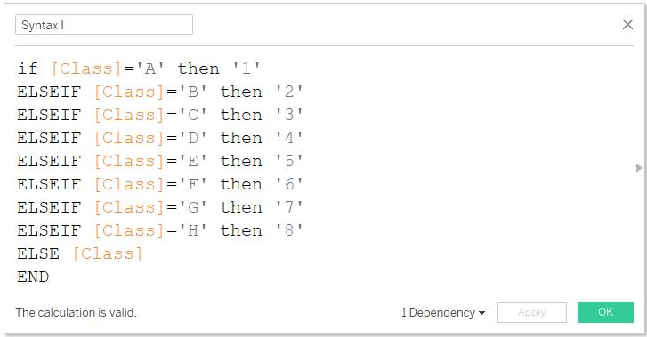 If-elseif function in tableau