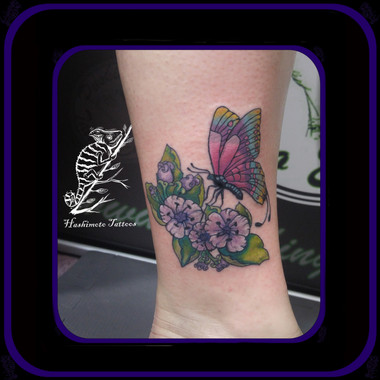 colourful butterfly Tattoo By Amanda Hashimoto Barrie