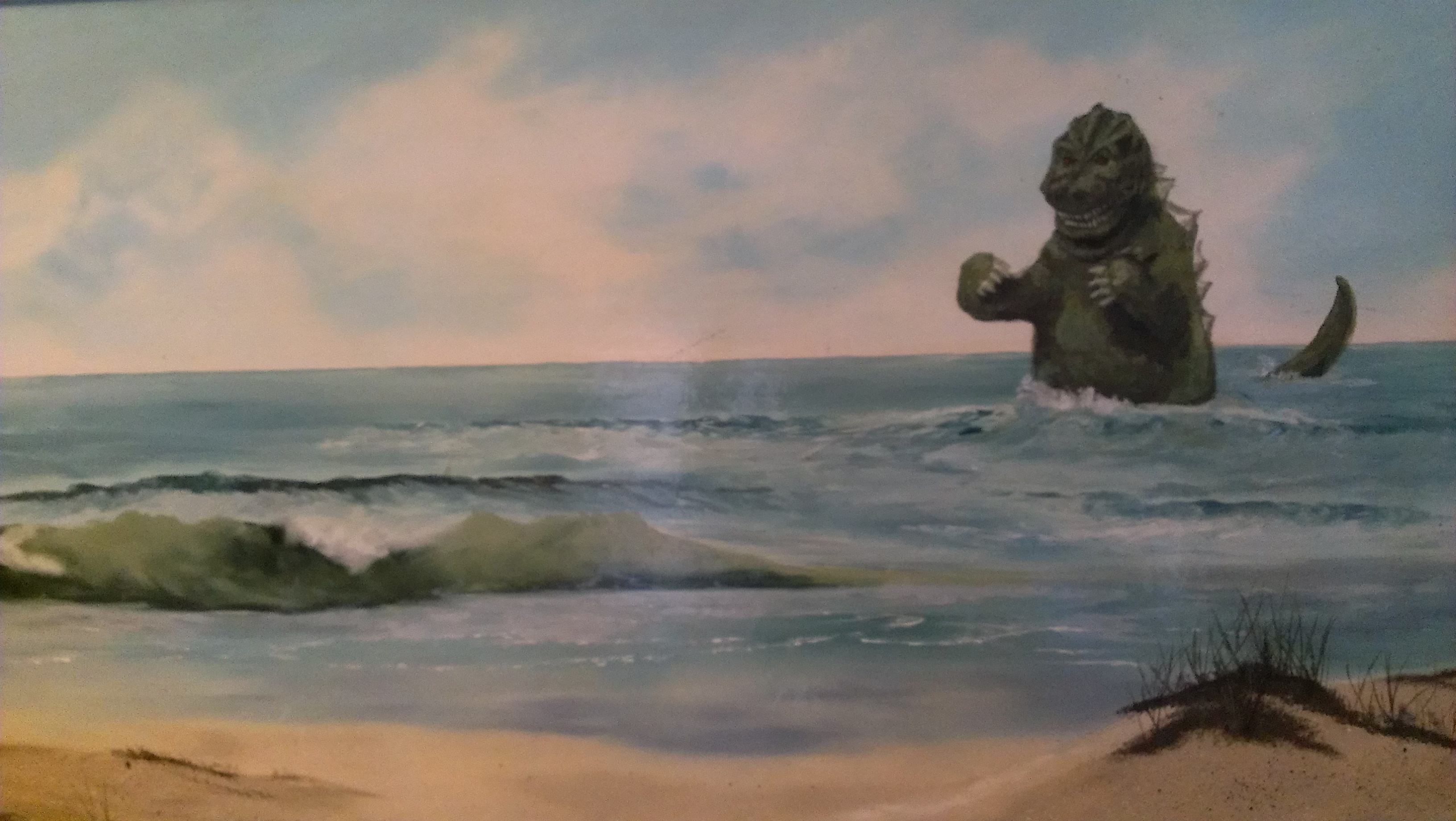 thrift shop painting + my godzilla