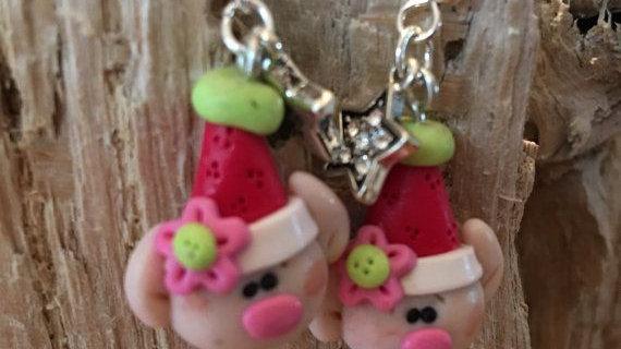 Clay Christmas Pig Earrings