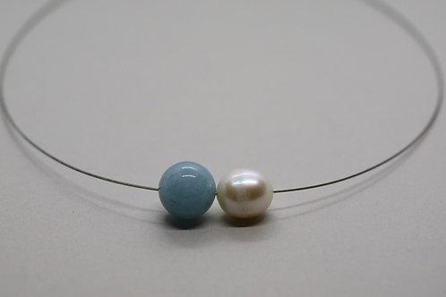 Kala aquamarine fresh water pearl choker artistic design jewelry schmuck agathos nafplio greece camaraworkshop.com