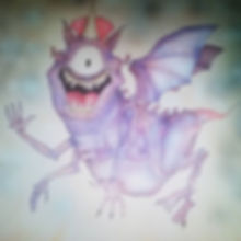 It's a one-eyed one-horned flying purple