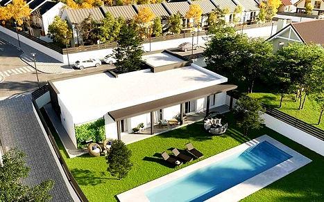 propriété,moderne,terrain,maison