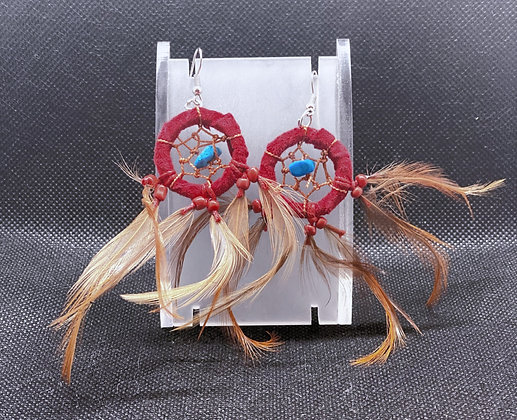 Boucles d'oreilles Dream Catchers (Rouge foncé)