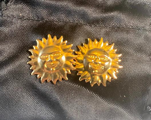 """Boucles d'oreilles  (Clips) """"SOLEIL"""" en laiton, 2cm"""