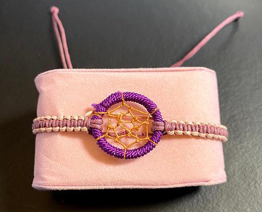 """Bracelet tressé """"Dream Catcher"""" violet et vieux rose (ajustable)"""