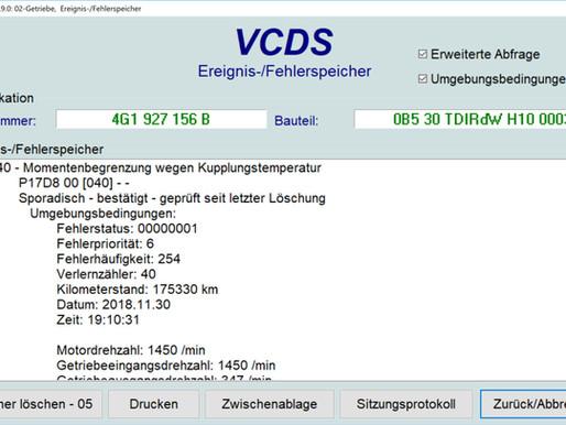 Audi Getriebe Notprogramm Weiterfahrt möglich | Fehler: P17D8 Momentenbegrenzung wegen Kupplungstemp