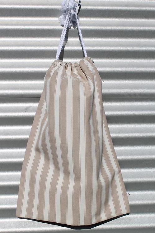 Mocha Stripe Laundry Bag