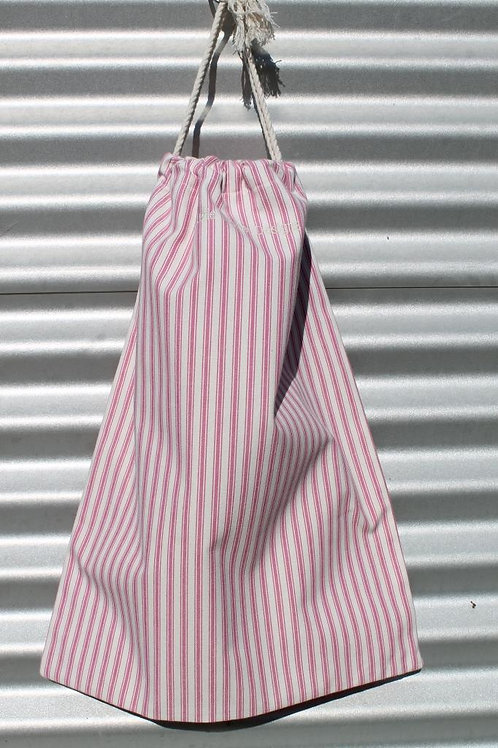 Magenta Ticking Laundry Bag