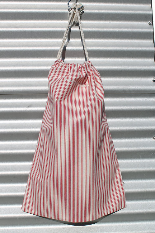 Red Ticking Laundry Bag