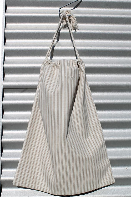 Mocha Ticking Laundry Bag