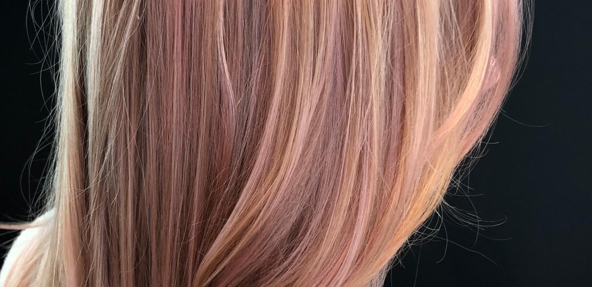 Rose Gold Highlights Blonde + Olaplex He