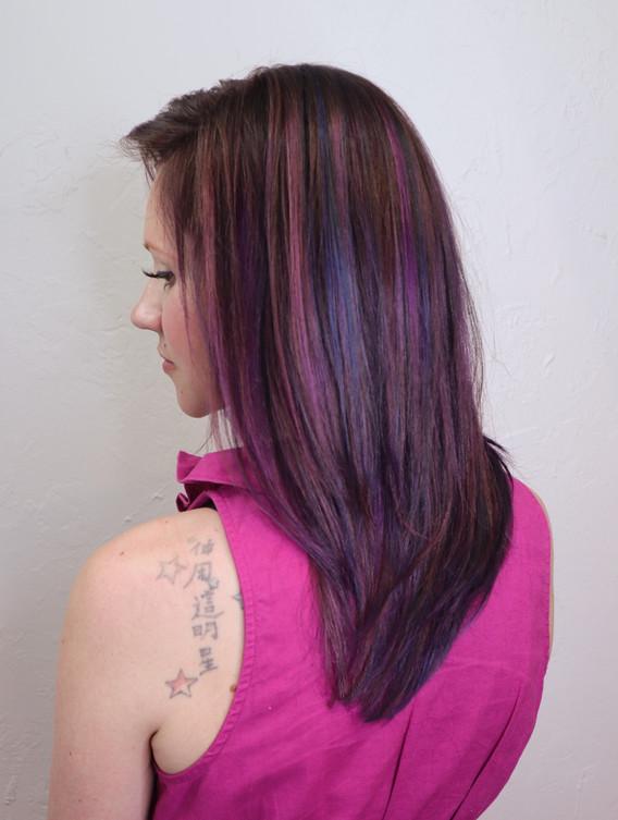 Magenta and Purple Hair Color + Olaplex