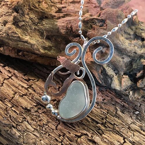 Sterling & Copper Mermaid Pendant with Seafoam Seaglass