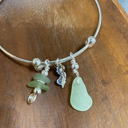 Adjustable Sterling Jersey Bracelet (seafoam green)