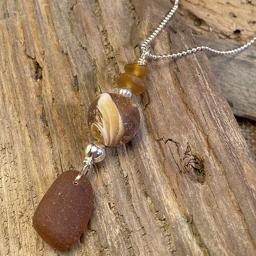 Brown Seaglass Marble Pendant