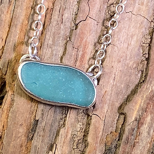 Bright Teal Seaglass Necklace