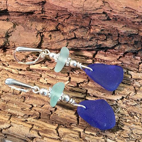 Cobalt and Light Blue Seaglass Earrings