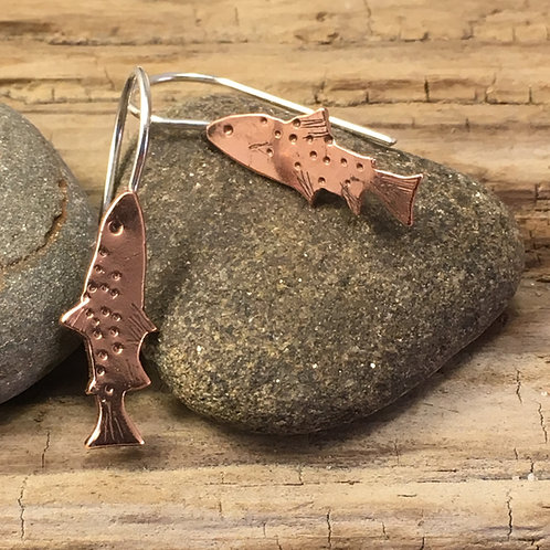 Trout Earrings in Copper