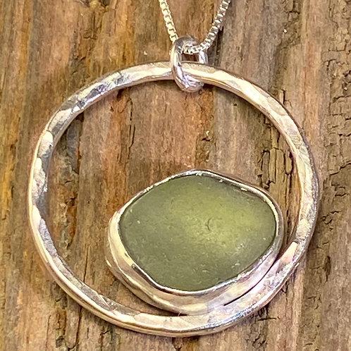 Olive Green Circle Pendant - 1