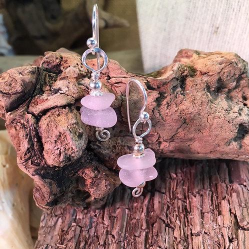 Lilac Seaglass Earrings