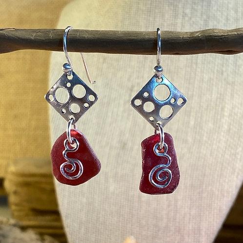 Ultra Rare Red Seaglass Earrings