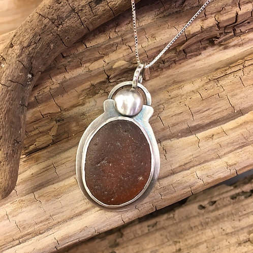 Sterling Silver and Amber Seaglass Oval Necklace