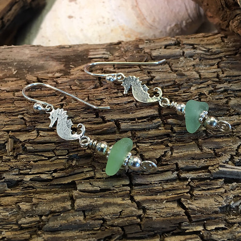 Sterling silver seahorse and seafoam earrings