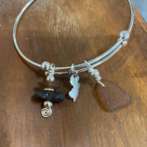 Adjustable Sterling Jersey Bracelet (brown)