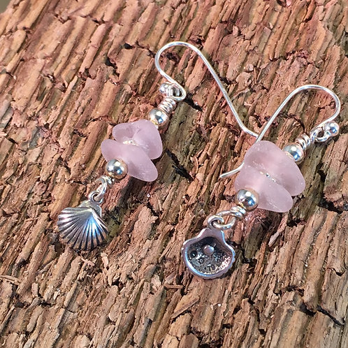 Sterling shell and lilac seaglass earrings